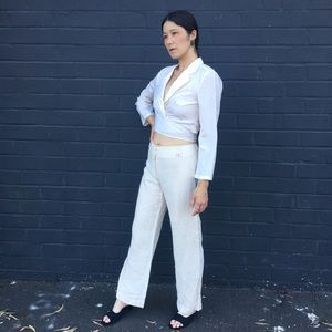 MaxMara Pants & Jumpsuits - *Max Mara* Weekend Cream Linen Mid-Rise Trousers